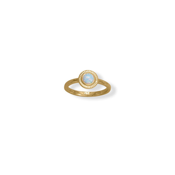 14 Karat Gold Plated Round Synthetic Opal Ring