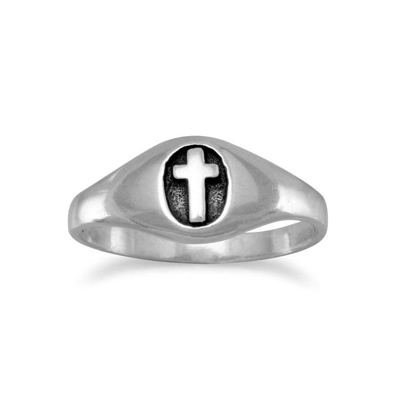 Small Oxidized Oval Ring with Cross