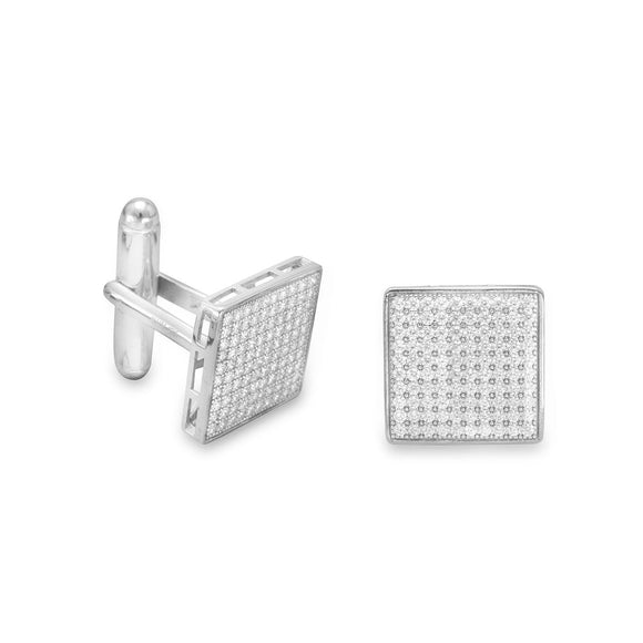 Rhodium Plated Pave CZ Cuff Links