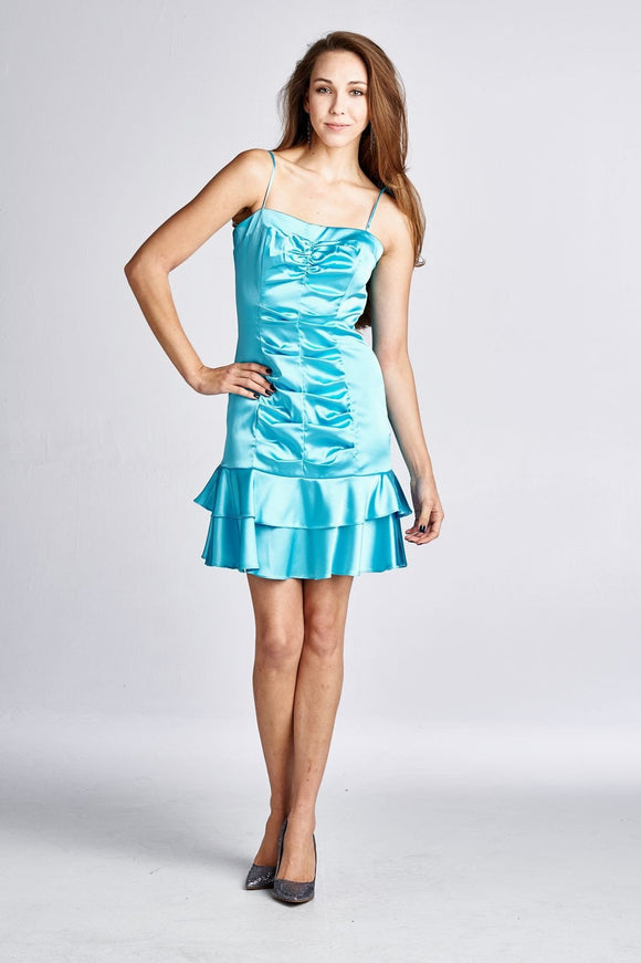 Women's Satin Spaghetti Strap Party Dress
