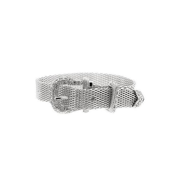 Silvertone Finish Buckle Bracelet