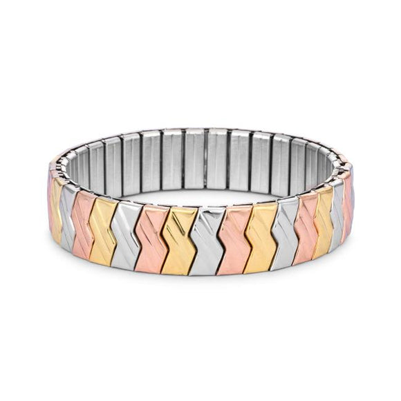Tritone Zig-Zag Stainless Steel Stretch Bracelet