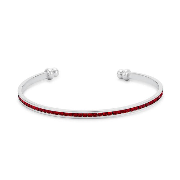 Channel-Set Ruby Red Cubic Zirconia Cuff