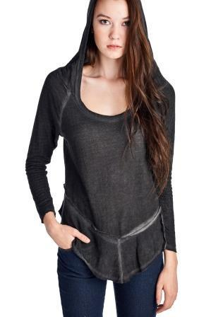 Women's Long Sleeve Hooded Vintage Wash Top