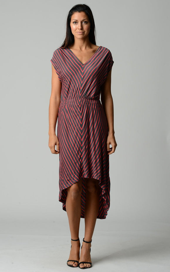 Women's Striped Hi-Low V-Neck Dress