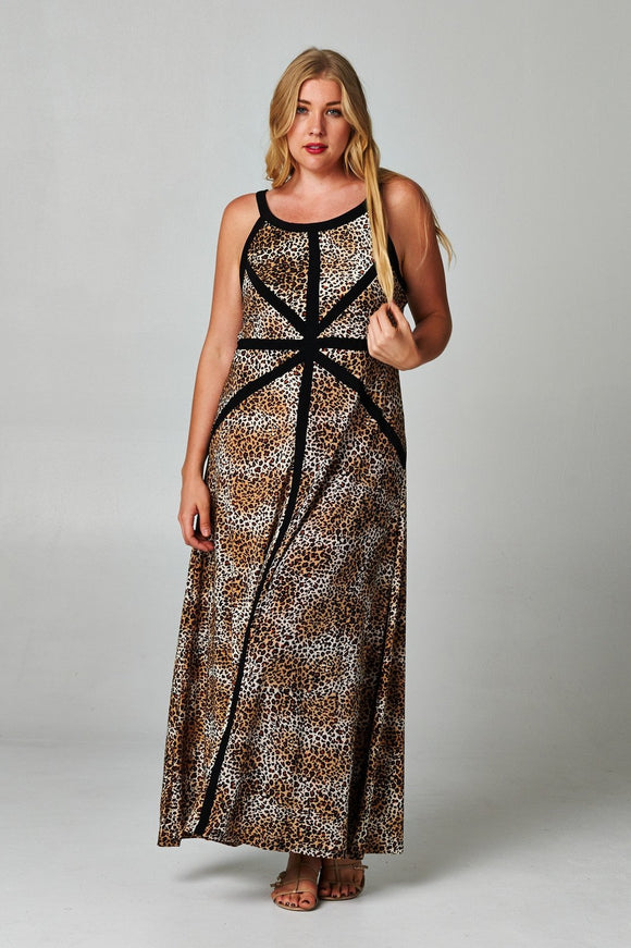 Women's Plus Size Leopard Print Maxi Dress