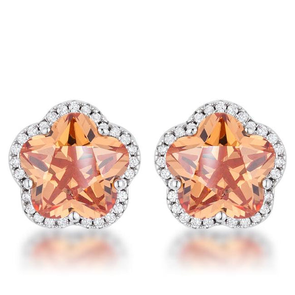 Floral Cut Champagne CZ Stud Earrings