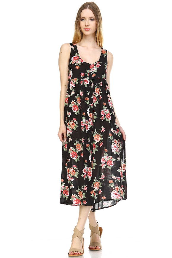 Women's Button Down Floral Maxi Dress
