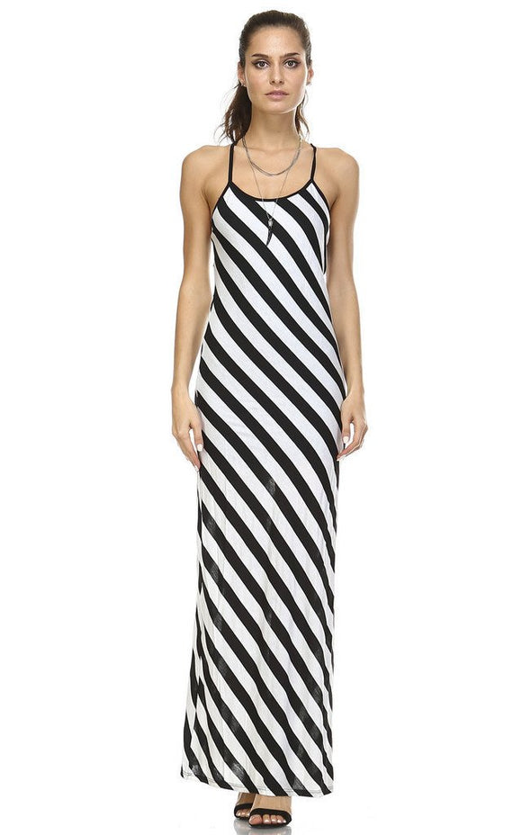 Women's Diagonal Stripe Maxi Tank Dress
