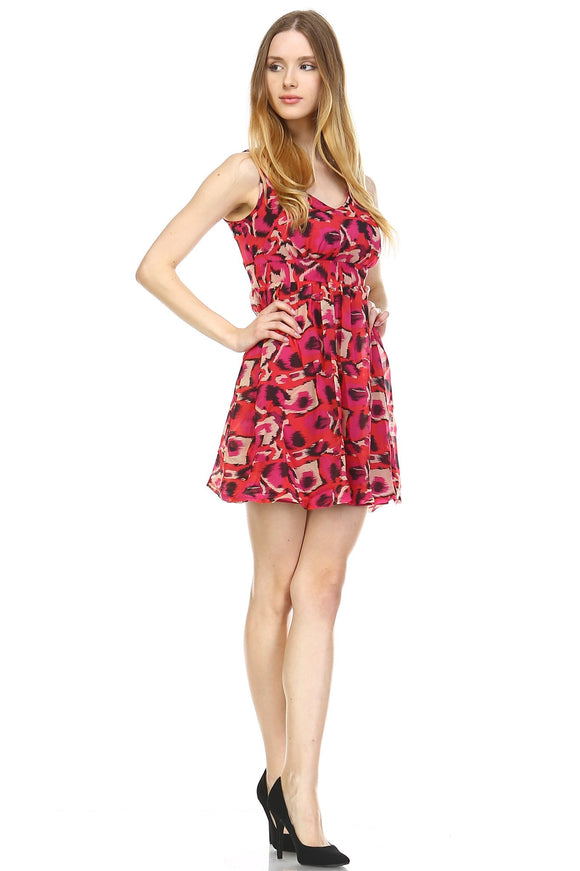 Women's Printed Cross Back Chiffon Dress