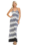 Women's Printed V-Neck Maxi Dress