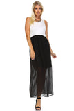 Women's Black & White Mixed Media Maxi Dress