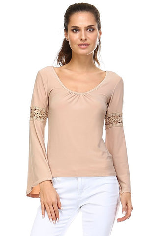 Women's Long Sleeve Knit Top with Crochet Sleeve Detail