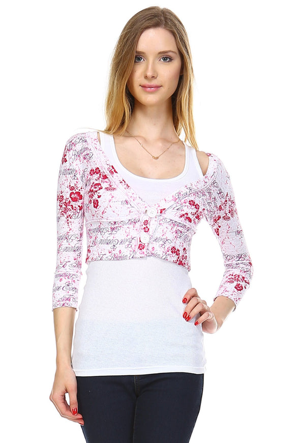 Women's Printed Jersey Crop Cardigan with Attached Tank