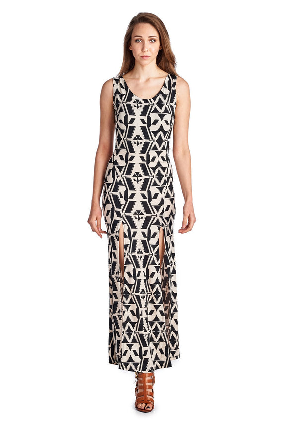 Women's Sleeveless Maxi Dress with Front Slits