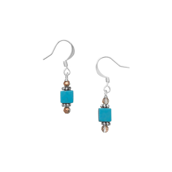 Turquoise and Glass Bead Fashion Earrings