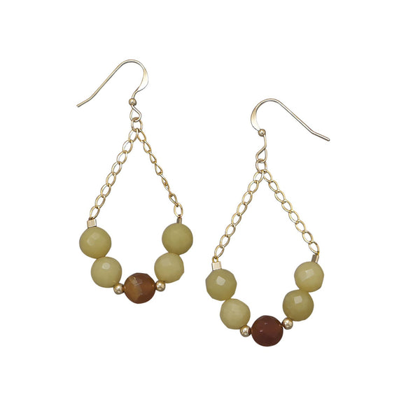14/20 Gold Filled Jade and Agate Earrings