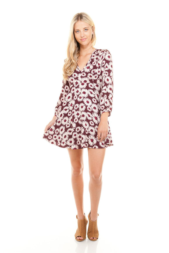 Women's V-Neck Long Sleeve Floral Print Dress