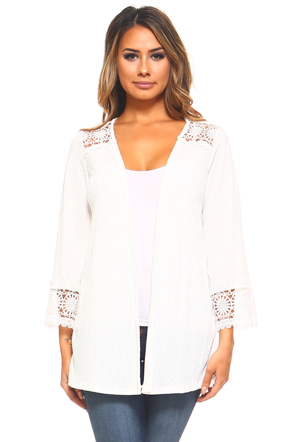 Women's Stretch Crochet Detail Cardigan
