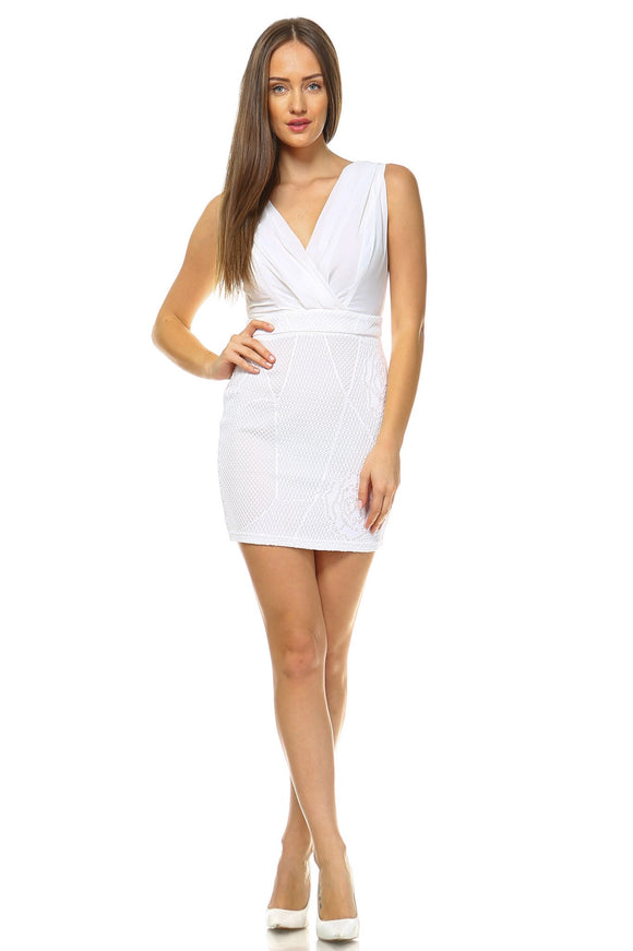 Women's V-Neck Crochet Fitted Dress