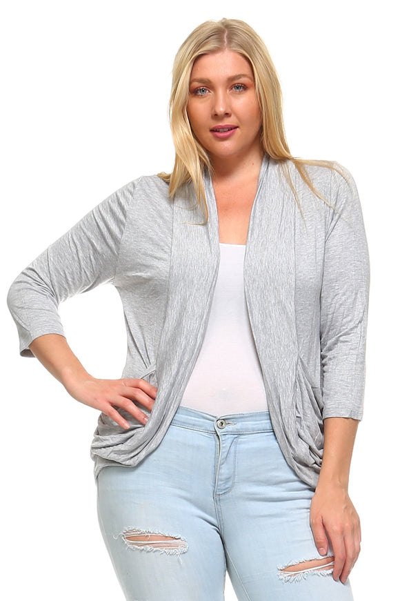 Women's Plus Size 3/4 Three Quarter Sheer Lace Cardigan