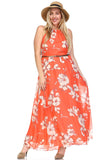 Women's Belted Floral Maxi Dress