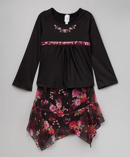 Girls Black & Pink Rose Tee & Handkerchief Skirt
