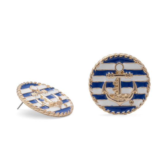 Blue and White Gold Tone Anchor Fashion Earrings