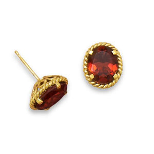 14 Karat Gold Plated Brass Garnet Doublet Earrings