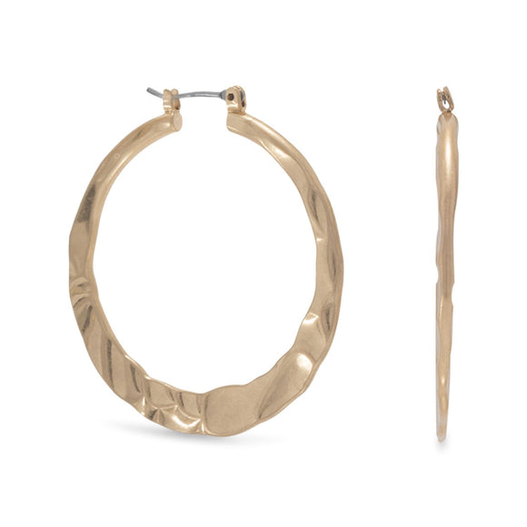 Hammered Gold Tone Fashion Hoop Earrings