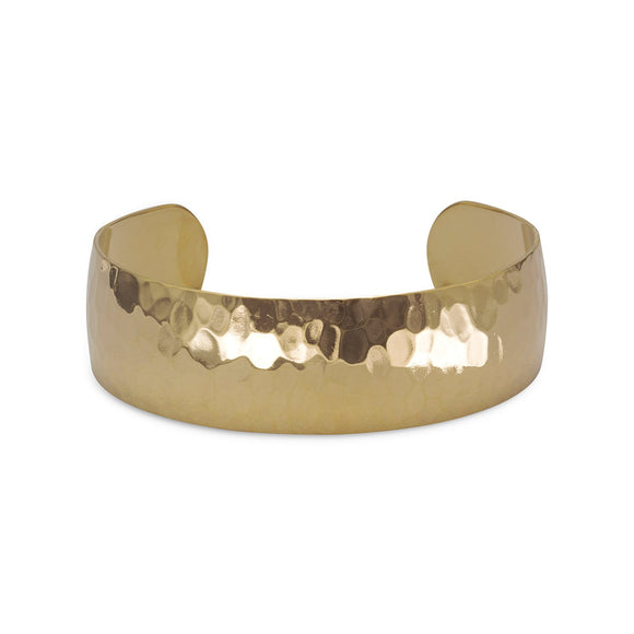 14 Karat Gold Plated Brass Hammered Cuff