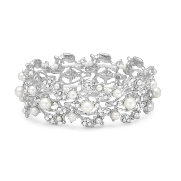 White Imitation Pearl Fashion Stretch Bracelet