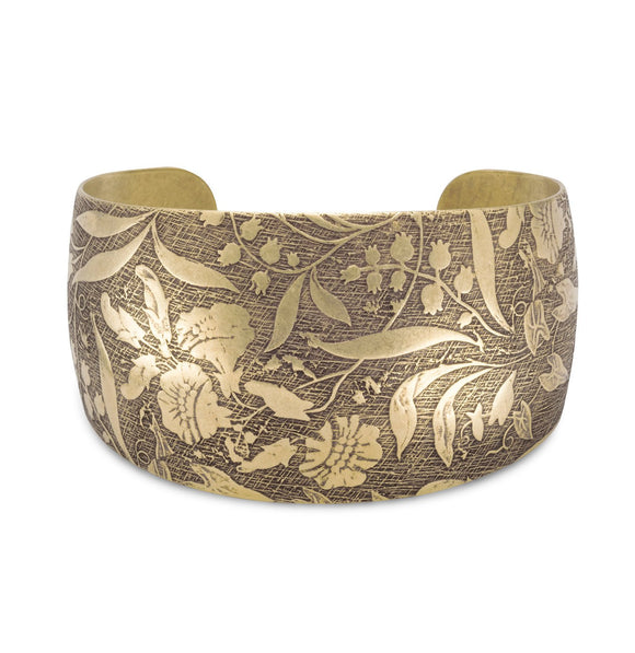 Antique Brass Floral Design Cuff