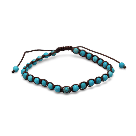 Adjustable Magnesite Bead Bracelet