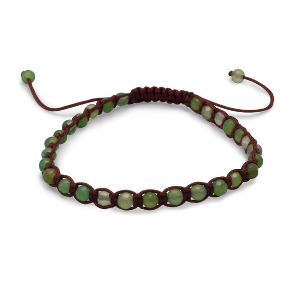 Adjustable Faceted Green Agate Bracelet