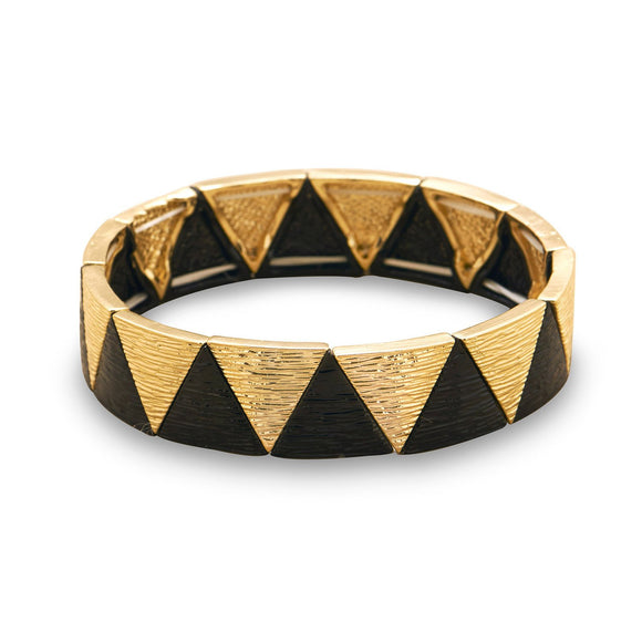 Gold and Black Pyramid Fashion Stretch Bracelet