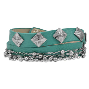"7"" Turquoise Leather Fashion Wrap Bracelet with Beaded Chain"