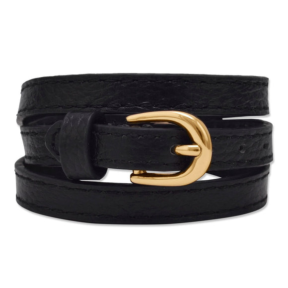 Black Leather Fashion Wrap Bracelet with Gold Tone Buckle