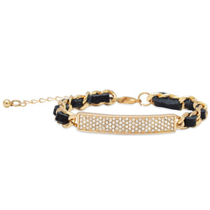 "7"" + 2"" Thin Black Leather Fashion Bracelet with Gold Tone Chain"