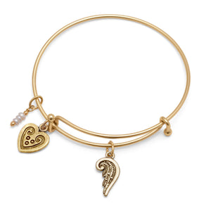 Expandable Gold Tone Angel Wing Fashion Bangle Bracelet