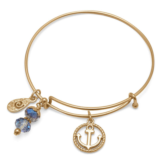 Expandable Gold Tone Nautical Charm Fashion Bangle Bracelet