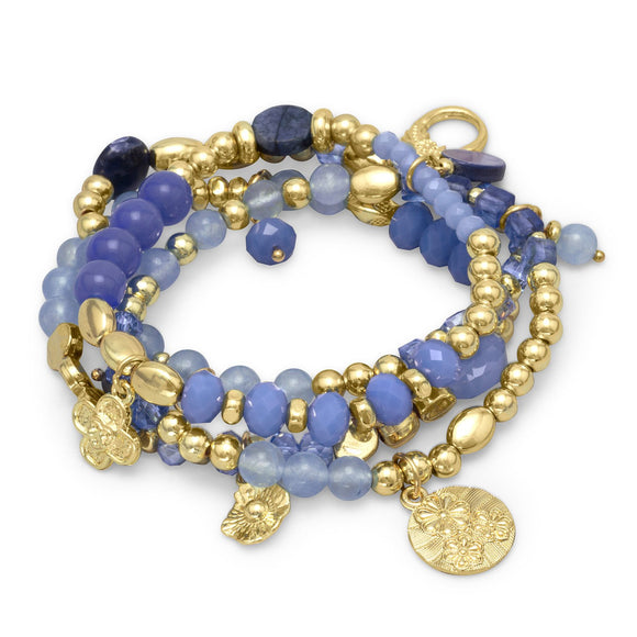 Set of 4 Gold Tone Multicharm Fashion Stretch Bracelets with Blue Agate