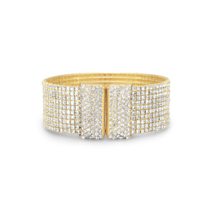Glamorous Gold Tone Crystal Flex Cuff Fashion Bracelet