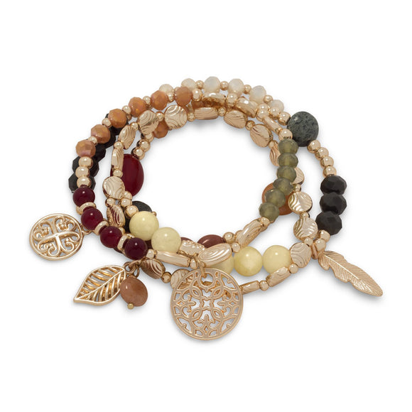 Set of 4 Gold Tone Fashion Stretch Bracelets with Multicolor Stones