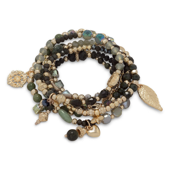 Set of 6 Gold Tone Fashion Stretch Charm Bracelets with Green Stones
