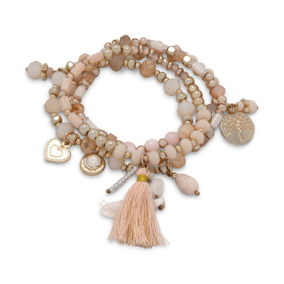 Set of 4 Gold Tone Fashion Multicharm Stretch Bracelets with Peach Tassel