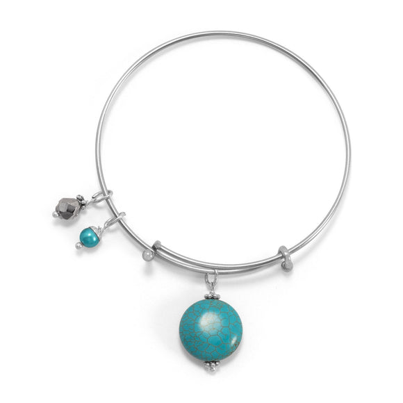 Expandable Magnesite Charm Fashion Bangle Bracelet