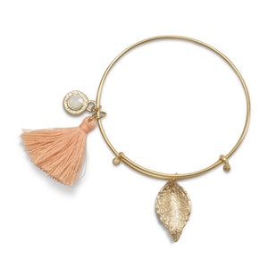 Gold Tone Expandable Peach Tassel Charm Fashion Bangle Bracelet