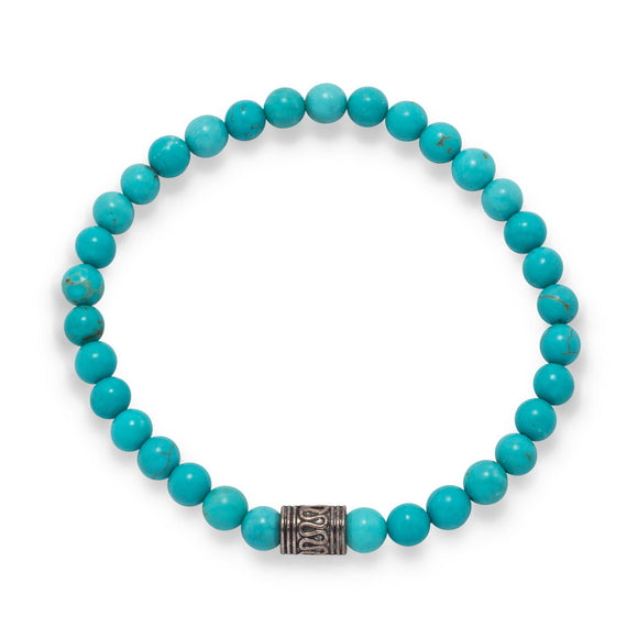 Blue Magnesite Fashion Stretch Bracelet