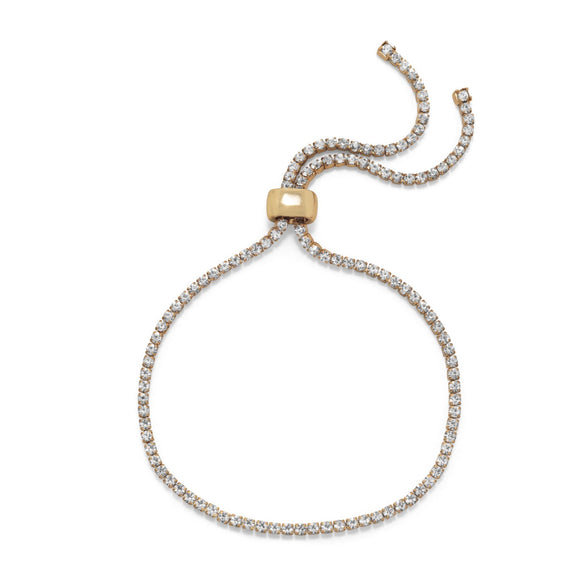 Gold Tone with Crystal Friendship Bolo Fashion Bracelet